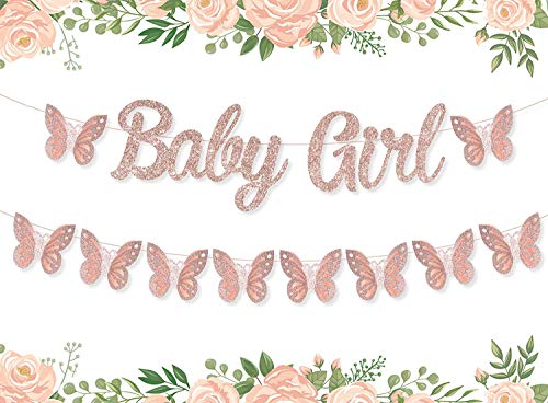 JOYMEMO Butterfly Baby Shower Banner Garland Decoration Baby Girl Banner Rose Gold Butterfly Garden Baby Shower Decorations for Girl Birthday Party Supplies