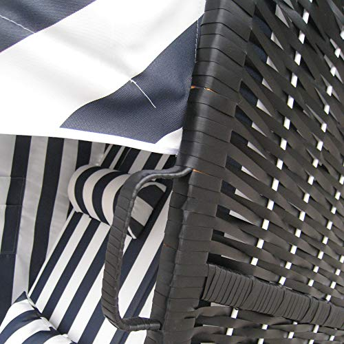 Zweisitzer Strandkorb mit klappbarer Rückenlehne für 2 Personen 118 x 80 x 160 cm (Blau / Weiss) - 6