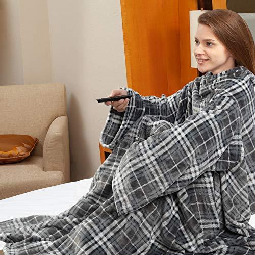 Viviland TV-Decke Kuscheldecke mit Ärmel & Fuß Tasche, Mikrofaser Decke Coral Fleece, Tagesdecke XL 170 x 200cm Grey Plaid
