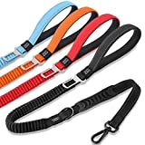 Dog Leash Traffic Padded Two Handles & Car Seat Belt, 4-5 FT Heavy Duty Reflective Leashes for Control Safety Training, Shock Absorbing Bungee Dog Leash for Small to Large Dogs (Black)