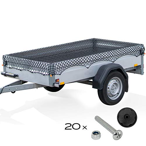 TRIBURG Anhängernetz Elastisch 1x2m bis 2x3m inkl. 20x Rundknöpfe und Sicherheitsschrauben [verzinkt] - Anhängernetz inkl. Rundknöpfe für Anhänger und Schrauben Set [rund]