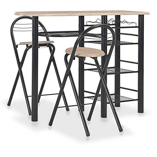 Tidyard 3-TLG. Bar-Set Bartisch Gartenmöbel Sitzgruppe Balkonset Balkonmöbel,1 Tisch und 2 Stühle,Tisch mit 4 Regalen und einem Weinregal,Stehtisch Küchentheke Bartische & -theken,Eichenbraun