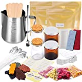 Candle Making Kit Supplies, Soy Wax Making Kit Including Pot, Wicks, Sticker, Mold, Tins, Soybean Wax, Dried Flowers, Spoon & More Full Starter Kit for Creating Scented Soy Candles