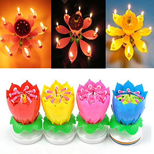 JUYOU 4 Pack Romantic Happy Birthday Music Play Lotus Candle Magic Musical Candle Flower Special For Birthday (4 Packs Random Color Matching)