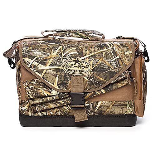 Rig'Em Right Waterfowl Deluxe Spinner Floating Bird Hunting Bag with Internal Storage Pockets, Padded Slots and more - Fits up to 2 Spinning Wing Decoys