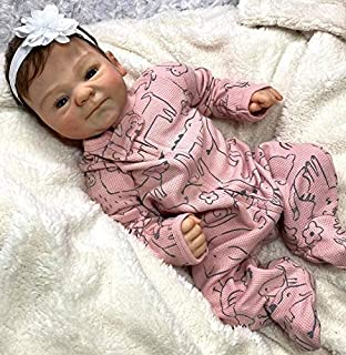 Angelbaby Reborn Baby Dolls, 18 inch Silicone Real Life Reborn Girl Dolls Smile Newborn Bebe Soft Weighted Body Doll Toy G...