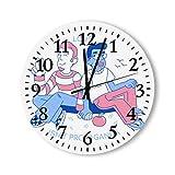 DKISEE Reloj de pared redondo de madera para dormitorio, sala de estar o casa, silencioso, sin garrapatas, con texto en inglés 'Smile Happy Gay'