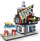Bloques de construcción para el taller del coche con gasolinera, columnas de gasolina y placa de suelo, construcción modular, 2120 bloques de construcción