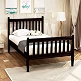 Twin Bed, Rockjame Premium Platform Bed Frame Mattress Foundation with Strong Wood Slat Support, Easy Assembly, No Box Spring Needed, Great for Boys, Girls, Kids, Young Teens and Adults (Espresso)