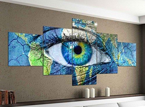 Acrylglasbilder 5 Teilig 200x100cm Auge Welt Karte Erwärmung Weltkarte Druck Acrylbild Acryl Acrylglas Bilder Bild 14F036, Acrylgröße 11:Gesamtgröße 200cmx100cm