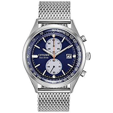 Men's Citizen Eco-Drive CA7020-58L Chandler Watch with Blue Dial and Mesh Bracelet