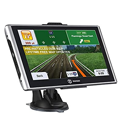 SIXGO GPS Navigation for Car 7 Inch Touch Screen Truck GPS Navigation System with Voice Broadcast and Free Lifetime Map Update