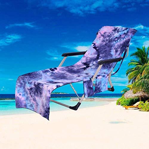 Toalla de playa para tumbona, cubierta para silla de salón, de secado rápido, bolsillos, ligero/ultra absorbente, ideal para toalla deportiva, toalla de viaje, toalla de baño, (amarillo)