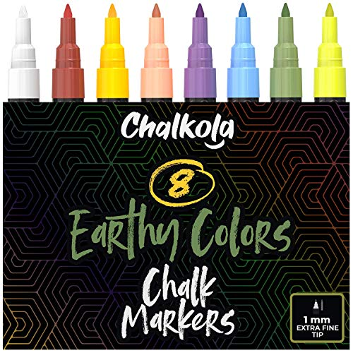 1mm Extra Fine Tip Chalkboard Chalk Markers (8 Pack) - Classic Earth Colors for Blackboard, Chalkboards, Windows, Glass, Bistro | Non-Toxic Wet Erase Liquid Chalk Ink Pens