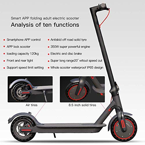 Electric Scooter, 350W Motor, Lightweight and Foldable Scooter for Adults, Color LCD Display,...