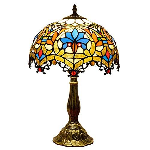 Siunwdiy Vintage Tiffany Tischlampe Pastoral Glasmalerei Schlafzimmer Lampe Nachttischlampe E27 Leselampe W12 H19 Zoll Schreibtischleuchte für Wohnzimmer, Gold