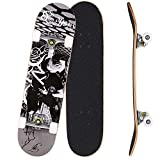 OUTCAMER Skateboard Complete PRO Skateboard Deck, Double Kick 9 Layer...