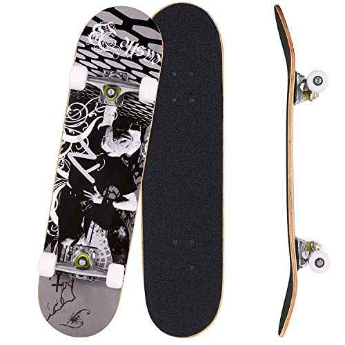 OUTCAMER Skateboard Complete PRO Skateboard Deck, Double Kick 9 Layer Canadian Maple Wood Adult Tricks Skate Board for Beginner, Birthday Gift for Adult Kids Skateboard 5 Up Years Old (Black Pose)