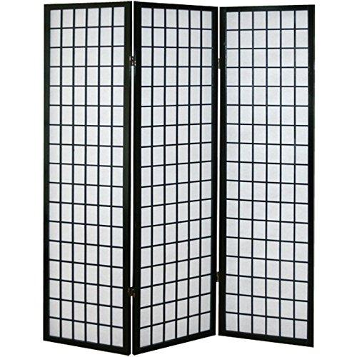 PEGANE Biombo japonés Shoji de Madera Negro de 3 Paneles