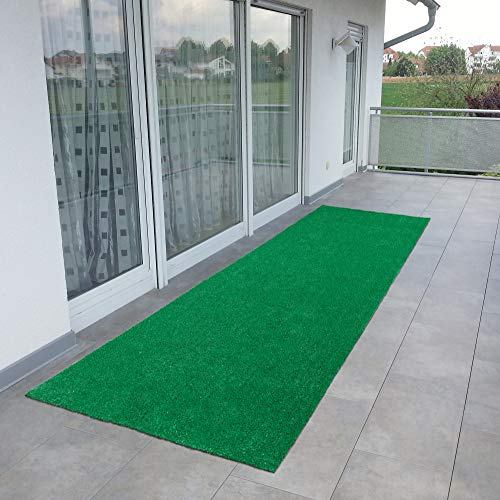 Ottomanson Evergreen Collection Indoor/Outdoor Green Artificial Grass Turf Solid Design Runner Rug, 2'7' x 8'