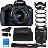 Canon EOS 4000D / Rebel T100 18.0 MP SLR - Black w/ 18-55mm DC III Lens Bundle - PixiBytes Up Close Lens Kit