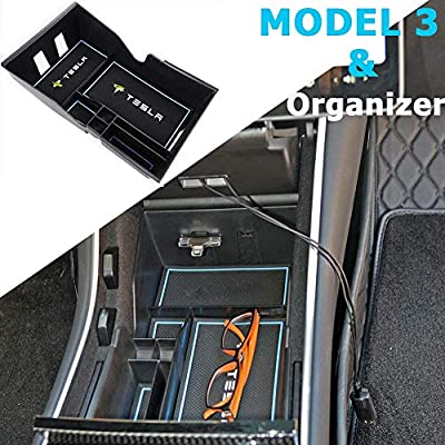 Topfit Tray for Tesla Model 3 Center Console Organizer Bin Storage Box Coin and Sunglasses Holder Premium Interior Parts
