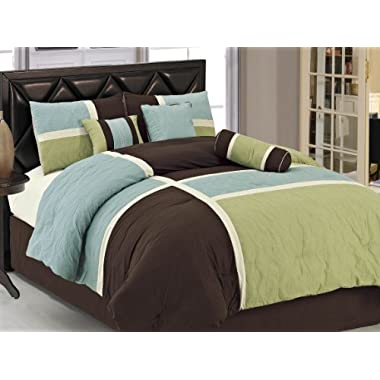 Chezmoi Collection 7-Piece Quilted Patchwork Duvet Cover Set, Queen, Aqua Blue/Sage Green/Coffee Brown
