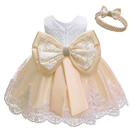 Baby Kids Girl's Dress Toddler Birthday Cute Big Bowknot Christening Dress 0-10 Years (19-24 Months, Light Apricot+White)
