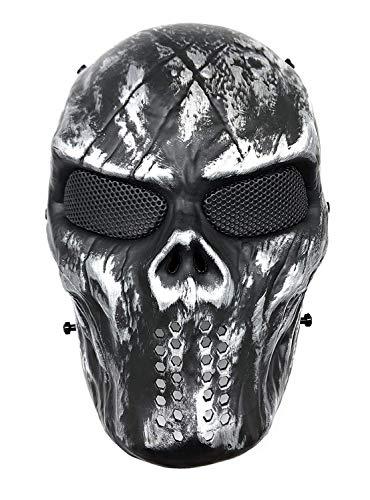 CS Schutzmaske Halloween Airsoft Paintball Full Face Skull Skeleton Maske (Schwarz/Silber)