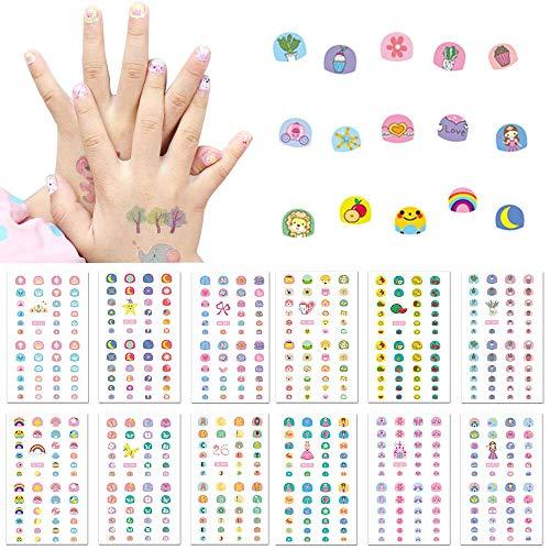 Kalolary 550+ Designs 3D Nagelsticker Selbstklebend, 1 Nagelfeile Aufkleber Tattoo Nagelaufkleber Nail Art Sticker Nagel Abziehbilder für Mädchen Mitgebsel Kindergeburtstag DIY Nagel Kunst Dekoration