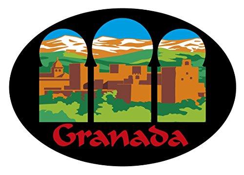 Artimagen Pegatina Oval Alhambra Granada Arcos 80x60 mm.