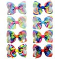 Ailler 8 Pcs/Pack Girls Fashion Headwear Gradient Color Bow Hair Clip Clips