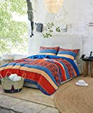 Soul & Lane Good Vibes Only Bedding Quilt Set - Queen with 2 Shams | Boho Chic Lightweight Quilted Bedspread