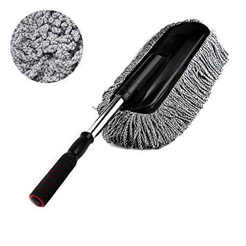 Bargain Crusader Removable Telescopic Car Wax Drag Nano Fiber Car Wash Brush Car Dusting Tool Car Mop Wax Dash Duster Exterior Interior Cleaning Kit (Premium Car Duster 1 Pcs Set, Gray)