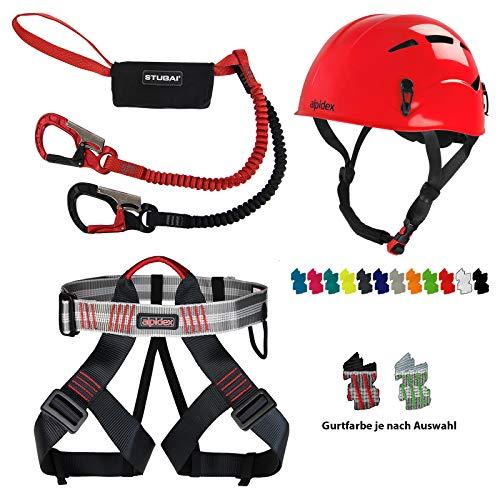 Diverse ALPIDEX Kletterhelm + Alpidex Klettergurt + Stubai Klettersteigset Basic 3.0 - Helm: Ruby red, Gurt: red