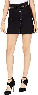 GUESS Womens Willma Frayed Hem Chain-Detail Denim Skirt Black 25