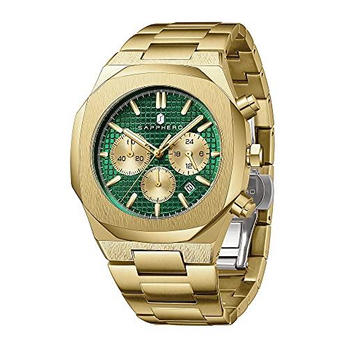 Relojes Hombre SAPPHERO Movimiento De Cuarzo Correa De Acero Inoxidable Impermeable 3ATM Cronógrafo Casual Negocios Deportivo Mejor Regalo Reloj De Pulsera para Hombre