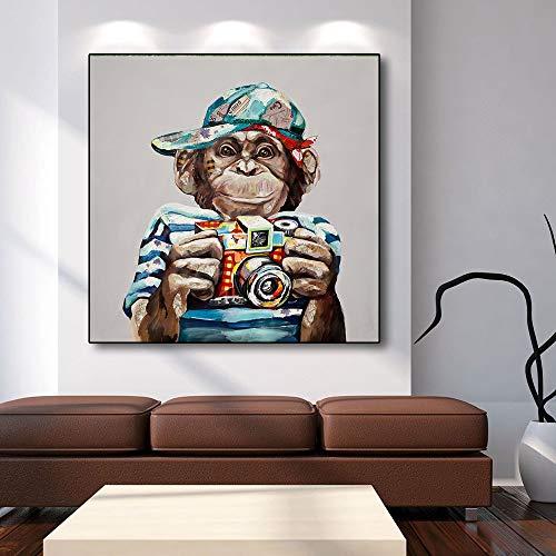 Rahmenlose Malerei Abstrakte Tierölmalerei Wandkunst AFFE und Kamera Wandkunst Druck für Wohnzimmer DekorationZGQ2233 40X40cm