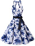 Bridesmay Women's 1950s Vintage Halter Retro Rockabilly Floral Cocktail Party Swing Dress White Blue Flower L