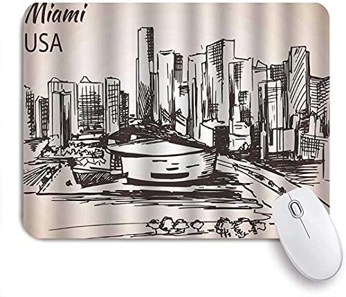 Alfombrilla de ratón para juegos, Funky Florida Dibujado a mano Miami Cityscape Sketch EE. UU. Arquitectura temática Edificios abstractos, Base de goma antideslizante Alfombrilla de ratón para portáti