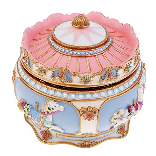Homyl Retro Karussell Spieluhr Musik-Box mit Bunt LED Licht Kinder Mädchen Spielzeug Weihnachten Geburtstag Hochzeit Geschenk - Das Schloss im Himmel