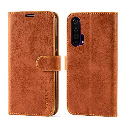Handyhülle für Honor 20 Pro Hülle, Leder Flip Case Schutzhülle für Huawei Honor 20 Pro / Honor20 Pro Tasche, Cognac Braun