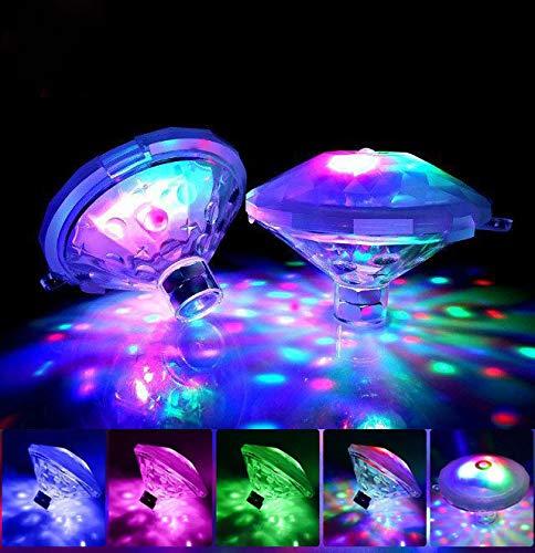 DIVAND LED Bain lumière Piscine imperméable lumières flottantes, 0,2 W Puissance avec Multi-Couleur 7 Modes de lumière pour Les Enfants Temps de baignade, Pool Party, 2PCS