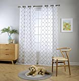 MIUCO White Sheer Curtains Embroidery Trellis Design Grommet Curtains 95 Inches Long for French Doors 2 Panels (2 x 37 Wide x 95' Long) White/Silver Embroidery