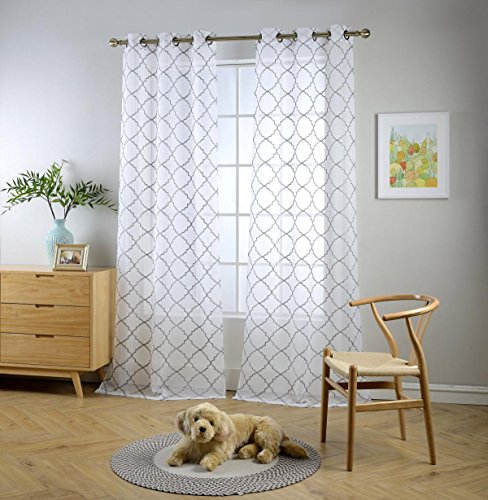 "Miuco White Sheer Curtains Embroidery Trellis Design Grommet Curtains 84 Inches Long for Living Room 2 Panels (2 x 37 Wide x 84"" Long) White / Silver Embroidery"