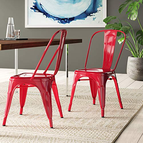 BELLEZE Vintage Style Metal Dining Chairs - Red(Set of 4) Stackable Backrest Chair for Kitchen & Office