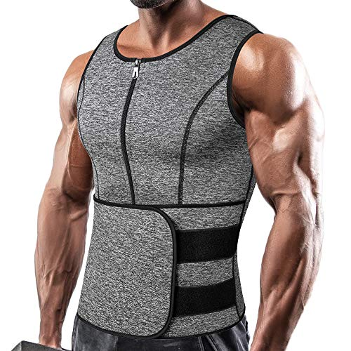 SHAPERIN Men Neoprene Sauna Suit Zipper Waist Trainer Vest Tank Top Trimmer Body Shaper with Adjustable Single Belt