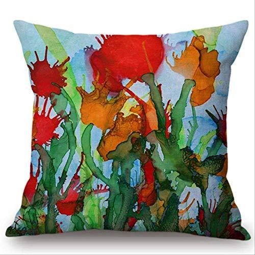 QIANGST Kleurrijke waterverf bloemen schilderij kussensloop kussensloop decoratie auto kantoor bank stoel kussensloop