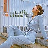 NVYISHUI Pijama de Mujer de Primavera y otoño Traje de Dos Piezas de Seda de Hielo Traje de Servicio a Domicilio Delgada sección de Pijamas de Manga Larga se Puede Usar Fuera de la Correa
