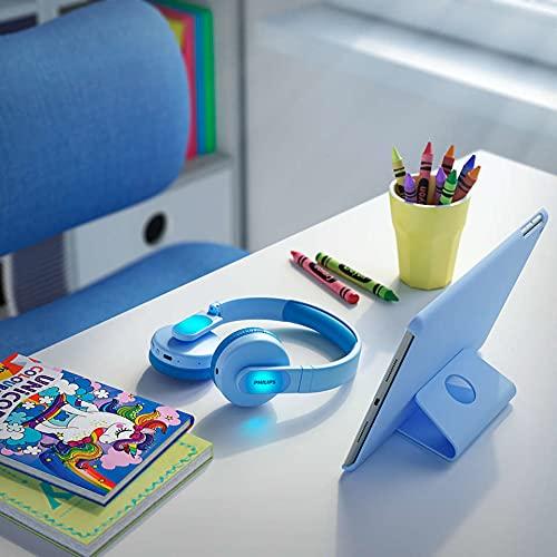 Philips Audio Kopfhörer Kinder TAK4206BL/00 Kontrollierbare Lautstärke Regelung, Over-Ear Kopfhörer für Kinder, 28 Stunden Wiedergabezeit, Kinderfreundliches Design, Blau mit Lichtern, One Size